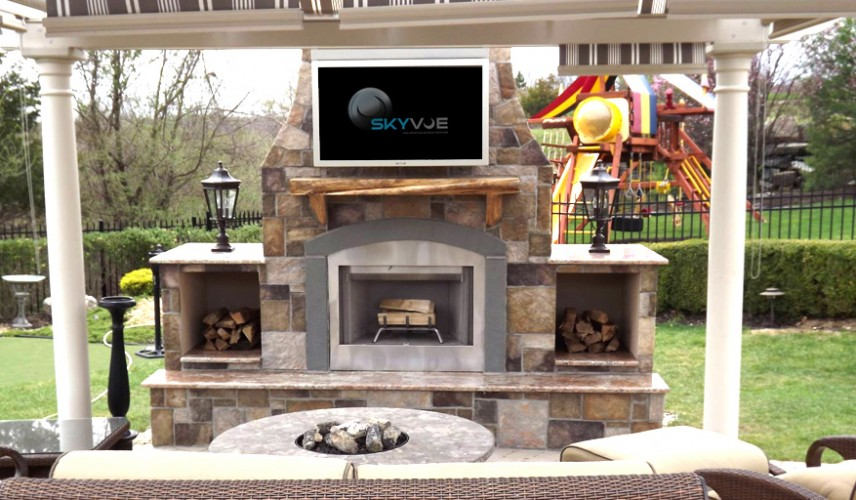 Outdoor tv pictures skyvue outdoor tv photo gallery - Outdoor fireplace with tv ...