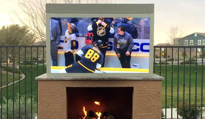 NHL Action On A SkyVue Sandstone 65